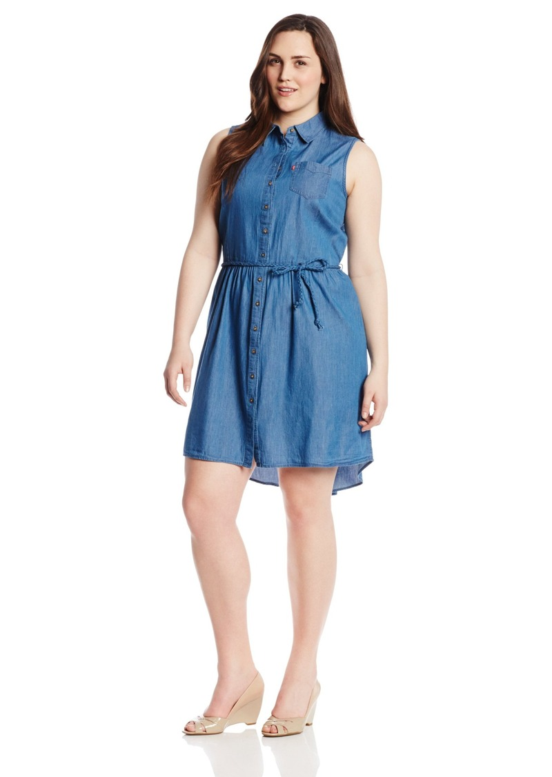 Levi's Women's Plus-Size Sleeveless Button Front Belted Dress  1X