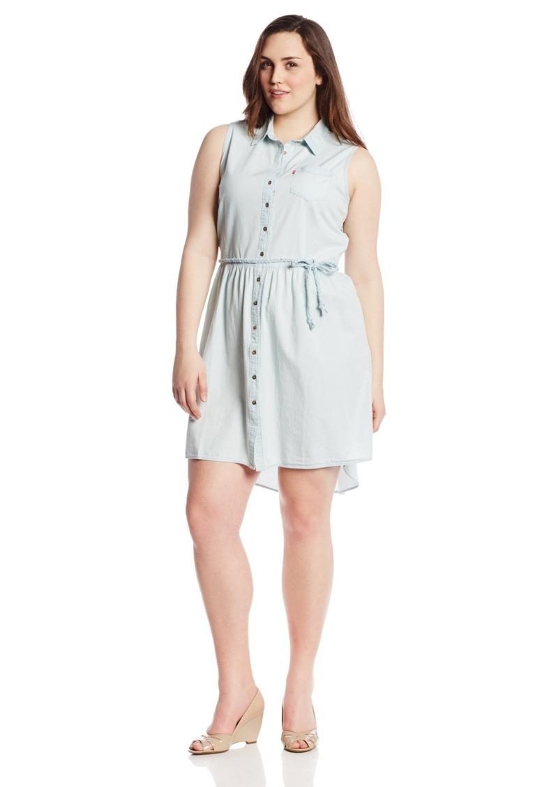 Levi's Women's Plus-Size Sleeveless Button Front Belted Dress  2X