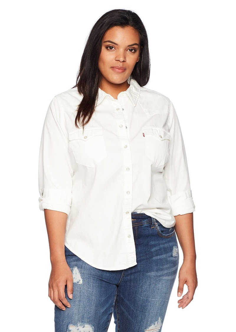 Levi's Women's Plus-Size Western Shirt Beat up White