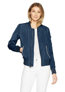 Levi's Women's Poly Bomber Jacket with Contrast Zipper Pockets  S