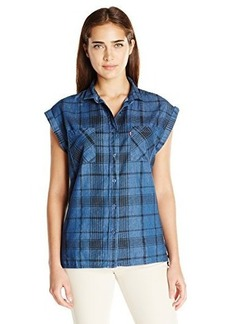 Levi's Women's Printed Chambray Drop Shoulder Muscle Shirt