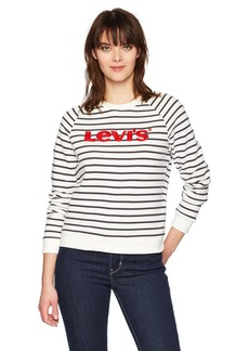 Levi's Women's Relaxed Crew Sweatshirt Chinese Red Emb on Huntington Cloud Dancer/Peacoat-Double Dye