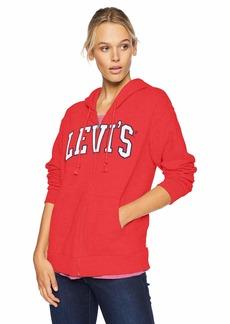 Levi's Women's Relaxed Graphic Zip Thru Hoodie Sweatshirt Across Chinese red