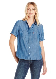 Levi's Women's Short Sleeve Beverly Shirt  Bright (53% Cotton 47% Metallic)