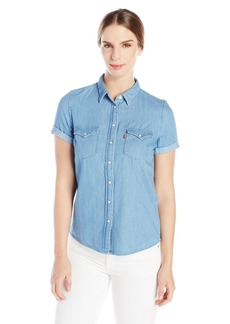 Levi's Women's Short Sleeve Western Shirt  Stone Wash