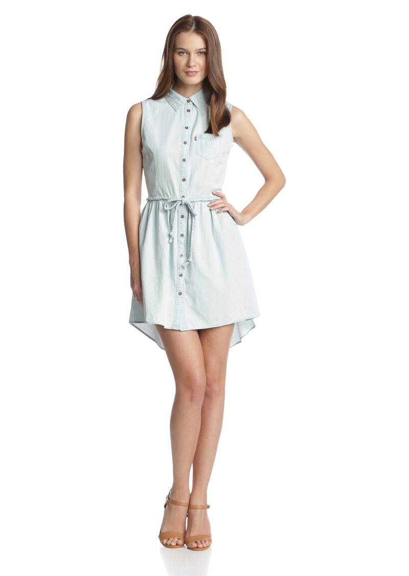 Levi's Women's Sleeveless Button Front Belted Dress Bleached Lyocell