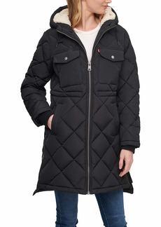 Levi's Women's Plus Soft Sherpa Lined Diamond Quilted Long Parka Jacket (Standard & Plus Sizes)