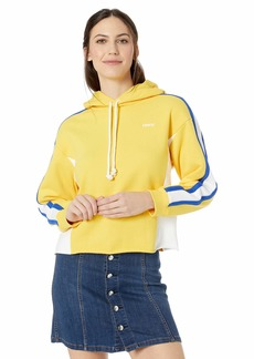 Levi's Women's Sport Short Hoodie Sweatshirt Color Block Short Hoodie Solar Power White Surf Blue