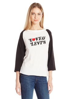 Levi's Women's the Graphic Raglan Top Love and Levi'S Marshmallow