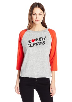 Levi's Women's the Graphic Raglan Top Love and Levi'S Smokestack Htr