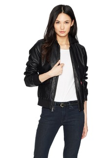 Levi's Women's Two-Pocket Faux Leather Hooded Bomber Jacket