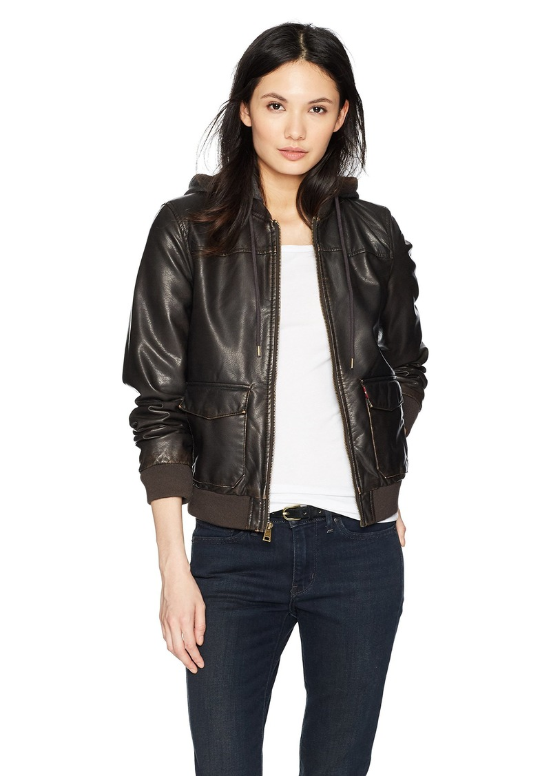 Levi's Women's Two-Pocket Faux Leather Hooded Bomber Jacket with Sherpa  Extra Large