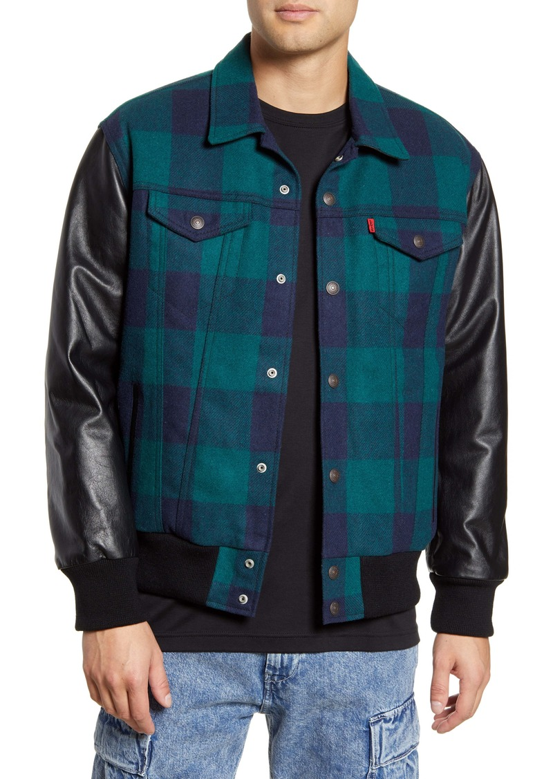 Levi's® x Justin Timberlake Varsity Leather & Wool Trucker Jacket