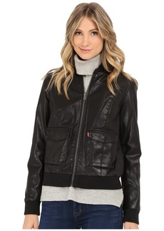 Levi's® Zip Front Faux Leather Varisty with Jersey Hood