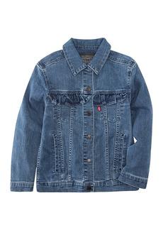 Levi's(R) Longline Ruffle Trucker Jacket (Big Girls)