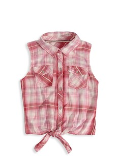 Levi's Little Girl's & Girl's Plaid Tie-Front Top