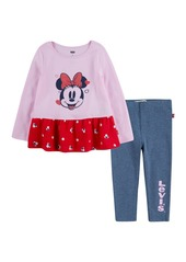 Levi's Disney Minnie Peplum Top & Leggings Set (Toddler Girls)