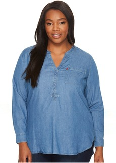 Plus Size Easy Popover Long Sleeve Woven