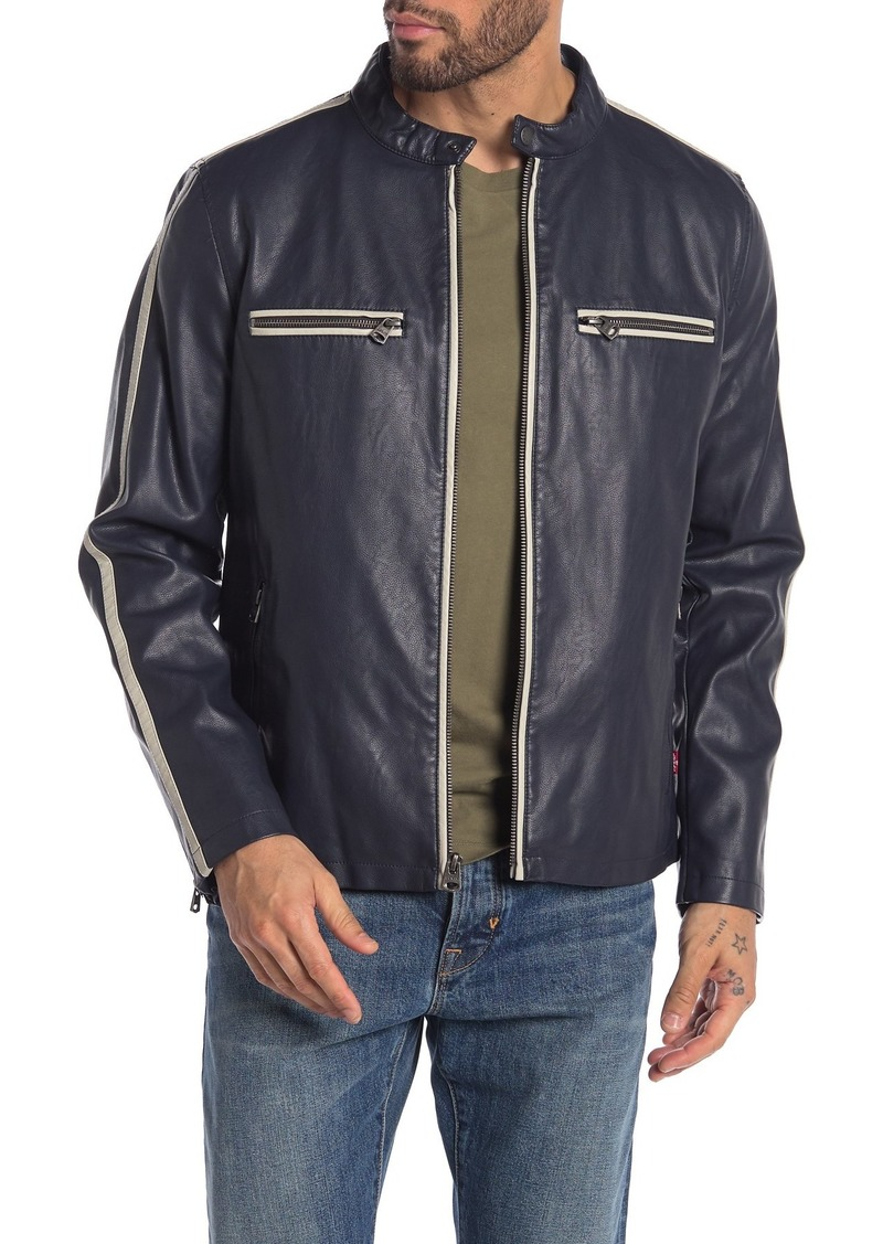 Levi's Racer Stripe Faux Leather Moto Jacket
