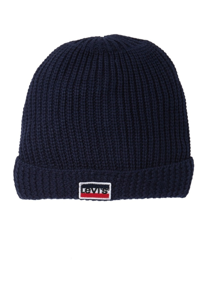 Levi's Textured Cuff Faux Fur Lined Beanie