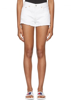 Levi's White Distressed 501 Denim Shorts