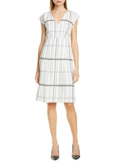 Lewit Grid Check Cap Sleeve Dress
