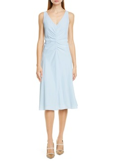 Lewit Ruched Front V-Neck Midi Dress