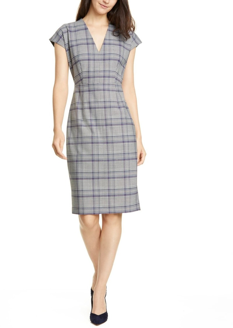 Lewit V-Neck Plaid Sheath Dress