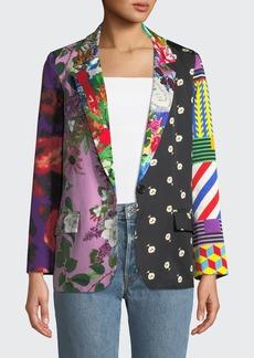 Libertine Mixed Print Long Blazer Jacket