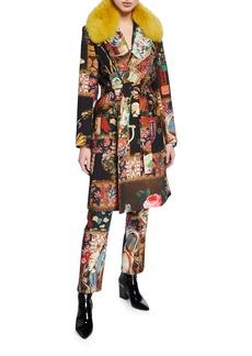 Libertine Momento Mori Wrap Coat with Fox Fur Collar