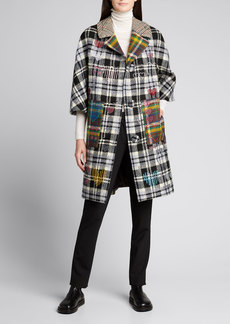 Libertine Plaid Embellished Wool Coat