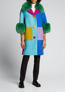 Libertine Wool Colorblock Fox Fur Trim Coat