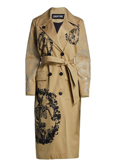 Libertine Tombes Crystal-Embellished Double-Breasted Trench