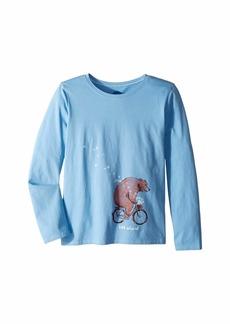 Life is good Bear Bike Flowers Crusher T-Shirt Long Sleeve (Little Kids/Big Kids)