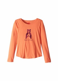 Life is good Bear Guitar Smiling Smooth T-Shirt Long Sleeve (Little Kids/Big Kids)
