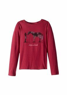 Life is good Besties Horse Crusher T-Shirt Long Sleeve (Little Kids/Big Kids)