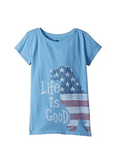 Life is good Crusher Big Dog Flag Tee (Little Kids/Big Kids)