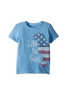 Life is good Crusher Big Flag Dog Tee (Toddler)