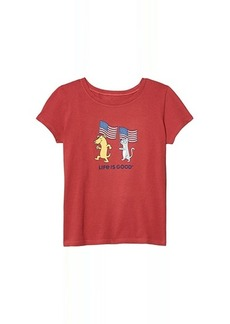 Life is good Dog and Cat Flags Crusher Tee (Little Kids/Big Kids)