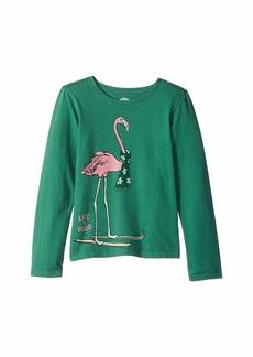 Life is good Festive Flamingo Crusher T-Shirt Long Sleeve (Little Kids/Big Kids)