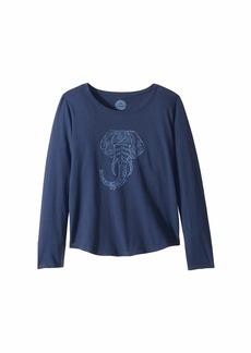 Life is good Primal Elephant Smiling Smooth T-Shirt Long Sleeve (Little Kids/Big Kids)