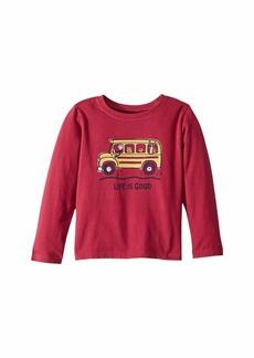 Life is good School Bus Friends Crusher T-Shirt Long Sleeve (Toddler)