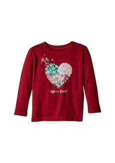 Life is good Snowflake Heart Long Sleeve Crusher Tee (Toddler)