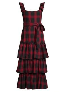 LIKELY Charlotte Plaid Ruffle Midi Dress