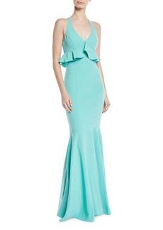 LIKELY Eden Halter Ruffle-Bodice Mermaid Gown