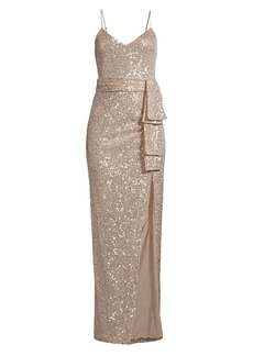 LIKELY Emile Draped Sash Sequined Gown