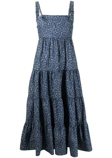 LIKELY floral print tiered midi dress