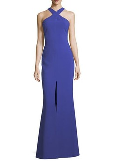 LIKELY Kingsbury Halter Crepe Trumpet Evening Gown