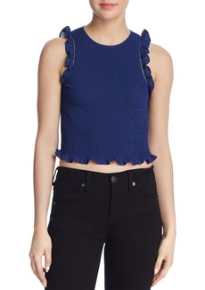 LIKELY Thomes Ruffled Smocked Cropped Top