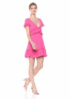 LIKELY Women's Brason Ruffle Trim Flowy Party Dress Pink flamb